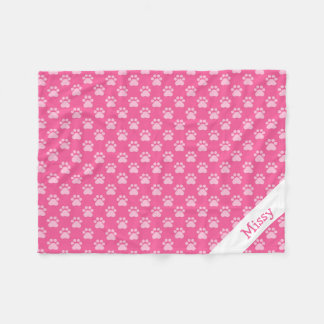 Pink And White Cat Paws With Custom Name Fleece Blanket