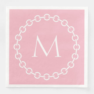 Pink and White Chain Link Ring Circle Monogram Paper Dinner Napkin