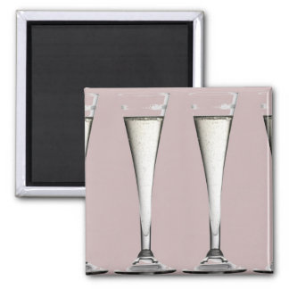 Pink and White Champagne Glass Flutes 2 Inch Square Magnet