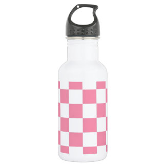 Pink And White Check Squares Stainless Steel Water Bottle