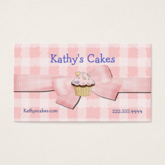 Pink and White Checked Bakery Business Cards