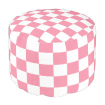 Pink and White Checked Pouf