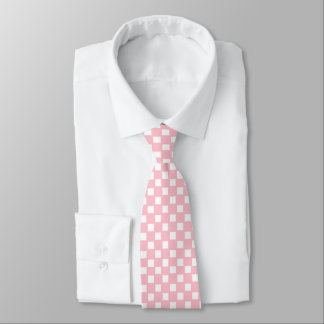 Pink and White Checked Tie