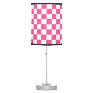 Pink and White Checkerboard Pattern Table Lamp