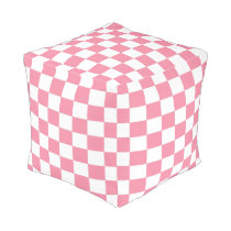 Pink and White Checkered Pouf