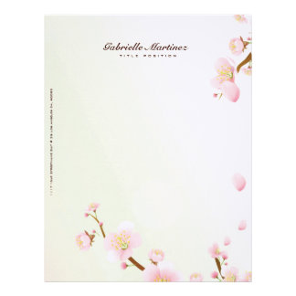 Pink And White Cherry Blossom Design Letterhead