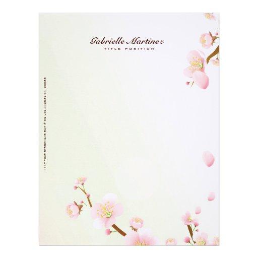 Pink And White Cherry Blossom Design Letterhead