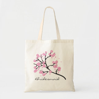 Pink and White Cherry Blossom Floral Bridesmaid Tote Bag