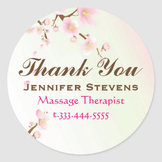 Pink And White Cherry Blossom Natural Spa Classic Round Sticker