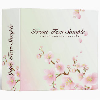 Pink And White Cherry Blossom Nature Design 3 Ring Binder