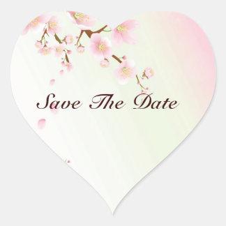 Pink And White Cherry Blossom Nature Design Heart Sticker