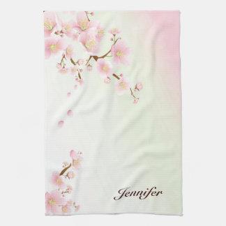 Pink And White Cherry Blossom Nature Monogram Hand Towel