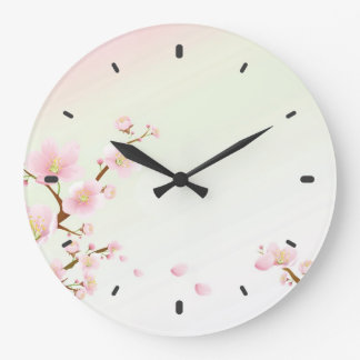 Pink And White Cherry Blossom Nature Monogram Large Clock