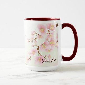 Pink And White Cherry Blossom Nature Monogram Mug