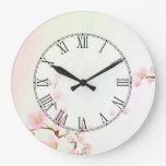 Pink And White Cherry Blossom Nature Roman Numeral Large Clock
