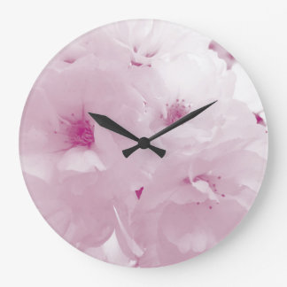 Pink and white cherry blossom sakura flowers large clock