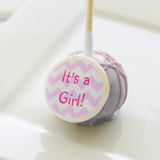 Pink And White Chevron Baby Shower Cake Pops Zazzle