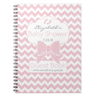 Pink and White Chevron Baby Shower Guest Book Spiral Notebook