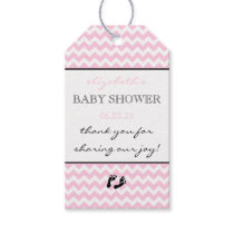 Pink and White Chevron Baby Shower Thank You Favor Gift Tags