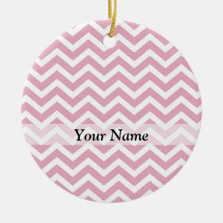 Pink and white chevron ceramic ornament
