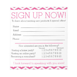 Pink and White Chevron Contact Information Form Scratch Pad