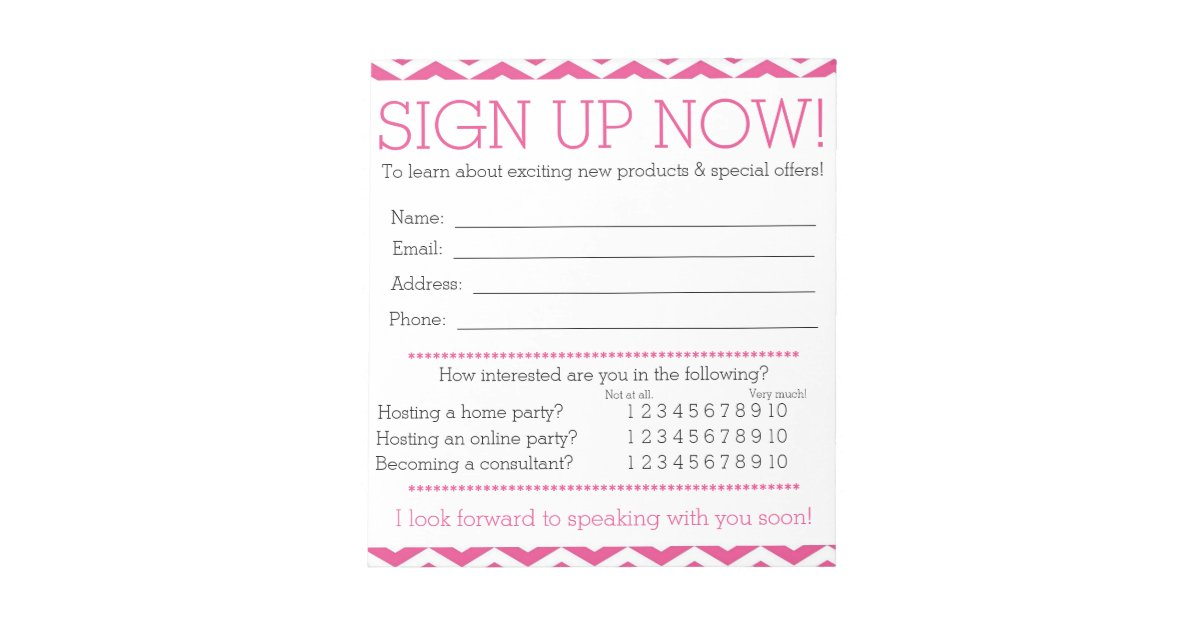 Pink And White Chevron Contact Information Form Notepad | Zazzle