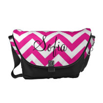 Pink and White Chevron Modern Diaper Bag