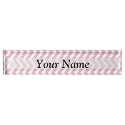 Pink and white chevron name plate