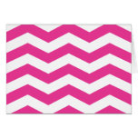 Pink and White Chevron Note Card - BLANK
