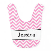 Pink and white chevron pattern baby bib with name