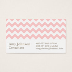 Pink And White Chevron Pattern Business Card at Zazzle