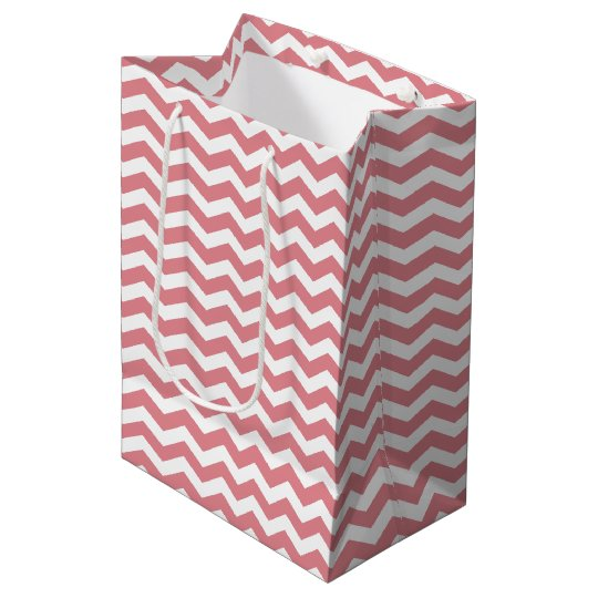 Pink and White Chevron Pattern Gift Bag