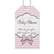 Pink and White Chevron Pattern Gift Tags