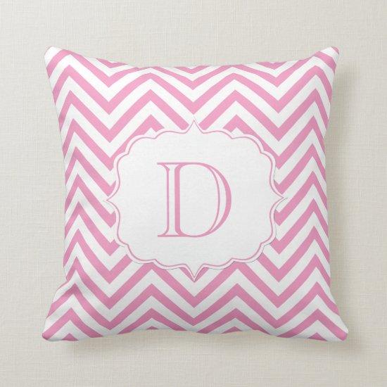 Pink and White Chevron Pattern Monogram Throw Pillow