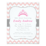 Pink and White Chevron, Princess Baby Girl Shower Card