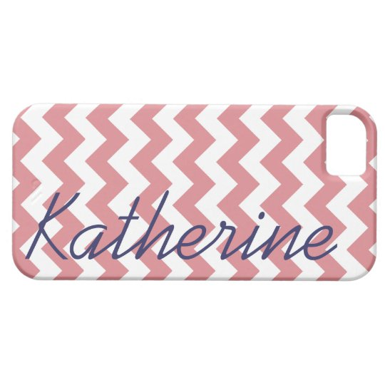 Pink and White Chevron Signature iPhone SE/5/5s Case