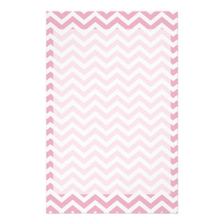 Pink and white chevron stationery
