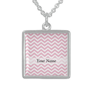 Pink and white chevron sterling silver necklace