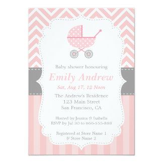Pink and White Chevron, Stroller, Baby Girl Shower Personalized Announcements