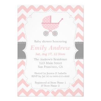 Pink and White Chevron Stroller Baby Girl Shower Custom Invitation