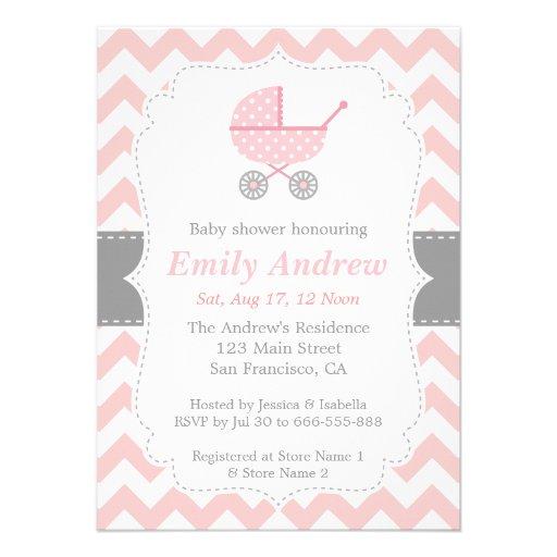Pink and White Chevron, Stroller, Baby Girl Shower Custom Invitation