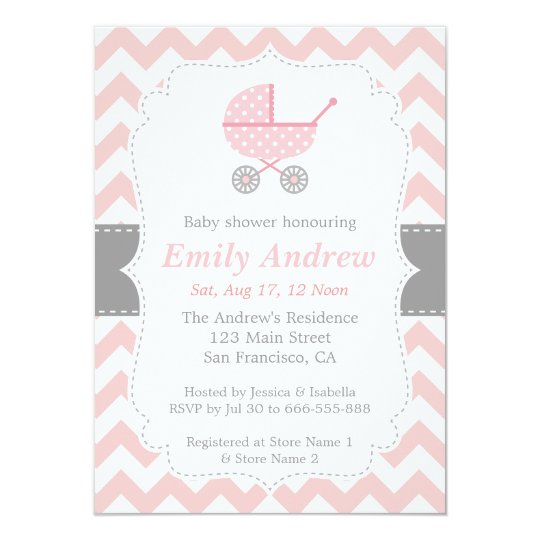 Pink and white chevron stroller baby girl shower invitation pink and white chevron stroller baby girl shower invitation filmwisefo