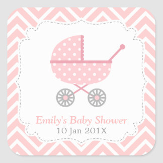 Pink and White Chevron, Stroller, Baby Girl Shower Square Stickers