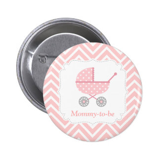 Pink and White Chevron Stroller Mommy to be Pinback Button