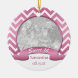Pink and White Chevron Sweet 16 Ornament