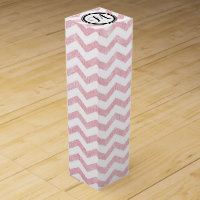 Pink and White Chevron Zigzag With Monogram Wine Box