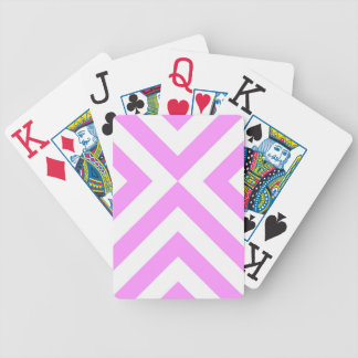 Pink and White Chevrons Bicycle Playing Cards