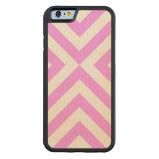 Pink and White Chevrons Carved® Maple iPhone 6 Bumper Case