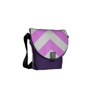 Pink and White Chevrons Courier Bags