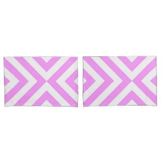 Pink and White Chevrons Geometric Pattern Pillowcase